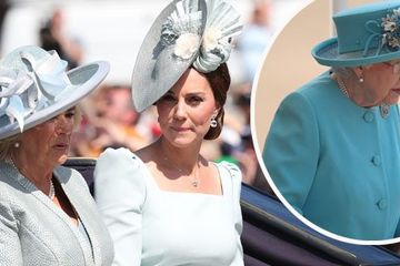 Kate Middleton Trooping The Colour: Duchess of Cambridge matches the Queen in ice blue Alexander McQueen dress