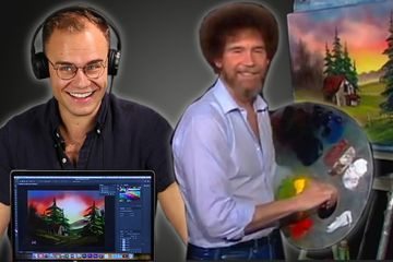 An Animator ReCreates A Bob Ross Painting In Photoshop