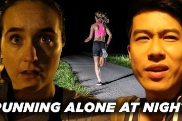 A Man And A Woman Compare Running Alone At Night