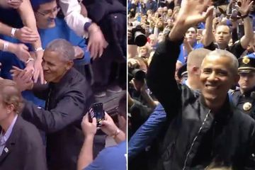 "Barack Obama Got a WILD Welcome at Duke University, and I'm Still Not Over His ""44"" Jacket"