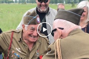 Ninety-year-old WW2 Airborne vets reunited for first time since war (Video)