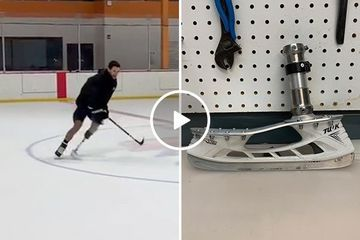 Former NHL prospect back on the ice after heart attack and leg amputation (Video)