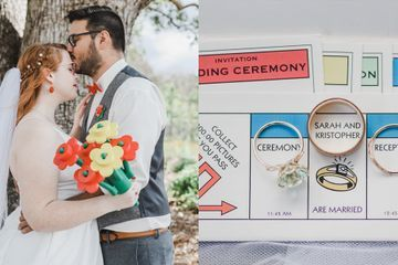 Attention, Game Fans! This Wedding Has Monopoly Invites, a Life Cake, and 3D-Printed Lego Bouquets
