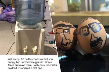 Guy selling his water cooler ends up starting EGGS-treme bidding war (18 Photos)
