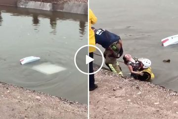 Firefighter dives to save woman from submerged vehicle (Video)
