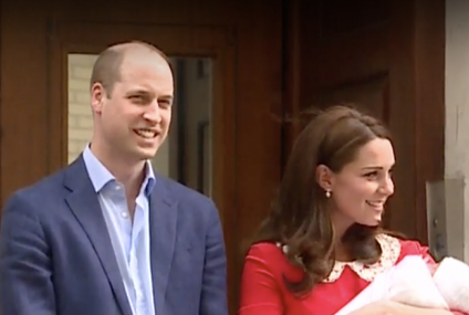 Kate Middleton gives birth: Duchess of Cambridge and Prince William reveal baby boy in public for FIRST time as they pose outside Lindo Wing