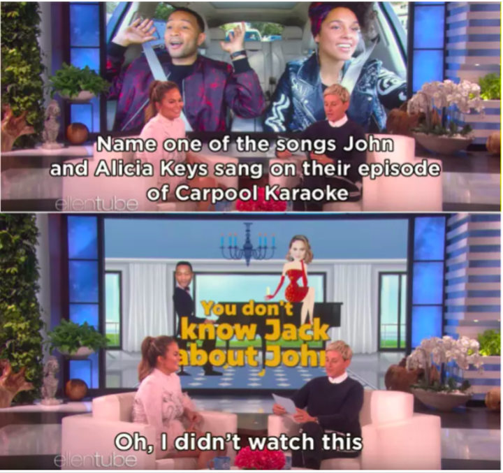 You may remember, a couple of months ago Chrissy Teigen appeared on The Ellen Show where her knowledge about husband John Legend's career was put to the test.
