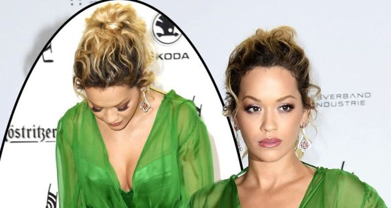 Rita Ora looks like a green goddess as she flashes knickers in stunning gown before jetting to LA for Coachella